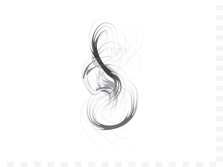 Smoke lines Graphic Vector Design. Smoke Dancing Waves Isolated On White Original Illustration. Ink Fume Elements Image. Zen Style Painting