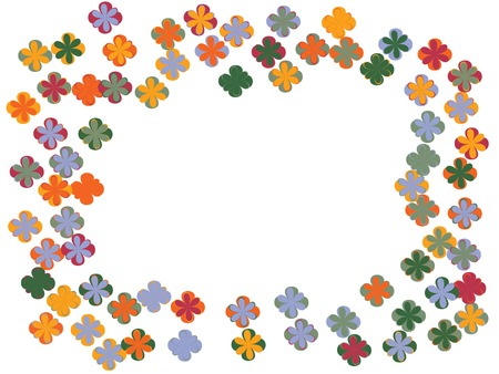 Blossom flowers confetti vector design. Border from falling floral confetti. Funky flowers original illustration. Floral pattern totally new design. Colorful butterflies square frame