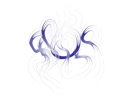 Navy Smoke lines Graphic Vector Design. Smoke Dancing Waves Isolated On White Original Illustration. Ink Fume Elements Image. Zen Style Painting Ilustração