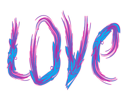 Word Love Graffiti Style Brush Lettering Original Vector Design. Blue and Pink Hand Drawn Letters Isolated on White. Romantic feelings verbal symbol. Minimal Grunge Design