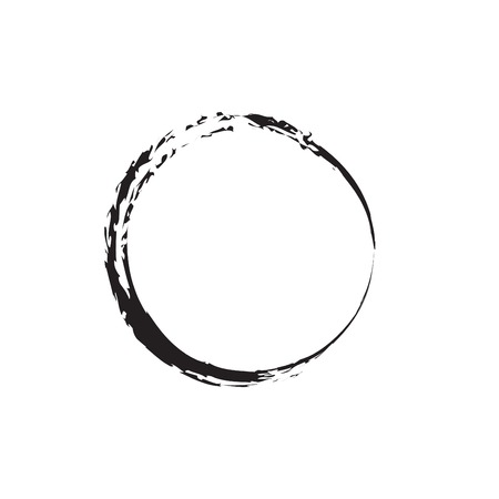 Enso Black Zen Brush Painted Symbol Original Vector Illustration. Logo, Emblem Design. Brush Drawn Buddhist Sign Isolated on White. Editable Fine Art Element for Your Design. Enso Grunge Circle
