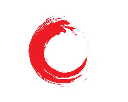 Red Zen Enso Symbol Original Vector Design. Painting Enso Zen Circle Chinese Brush Style Illustration. Logo, Emblem Design. Brush Drawn Buddhist Sign Isolated on White. Editable Fine Art Element.