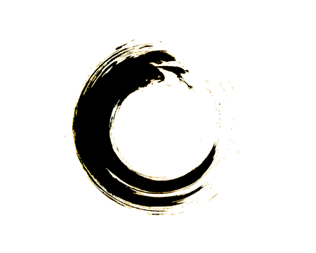Black Zen Enso Symbol Original Vector Design. Painting Enso Zen Circle Chinese Style Illustration. Emblem Design. Brush Drawn Buddhist Sign Isolated on White. Editable Fine Art Element.
