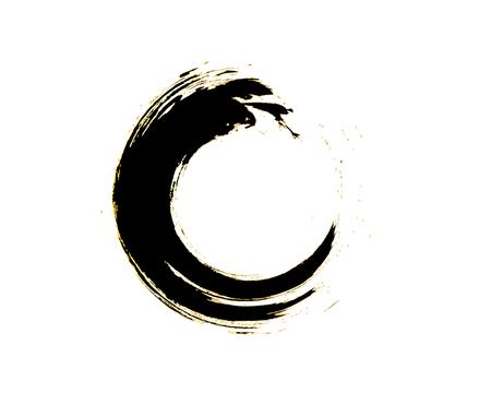Black Zen Enso Symbol Original Vector Design. Painting Enso Zen Circle Chinese Style Illustration. Emblem Design. Brush Drawn Buddhist Sign Isolated on White. Editable Fine Art Element.