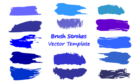 Craft label brush stroke backgrounds, paint or ink smudges vector for tags and stamps design. Painted label backgrounds patch. Color combinations catalog elements. Ink smudges, stains, blue spots. Illustration