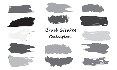 Craft label brush stroke backgrounds, paint or ink smudges vector for tags and stamps design. Painted label backgrounds patch. Color combinations catalog elements. Ink stains,black and gray spots. Vector Illustration