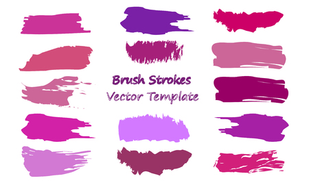 Craft label brush stroke backgrounds, paint or ink smudges vector for tags and stamps design. Painted label backgrounds patch. Color combinations catalog elements. Ink smudges, stains, violet spots.