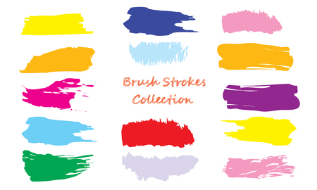 Craft label brush stroke backgrounds, paint or ink smudges vector for tags and stamps design. Painted label backgrounds patch. Color combinations catalog elements. Ink smudges, stains,colorful spots. Vector Illustration