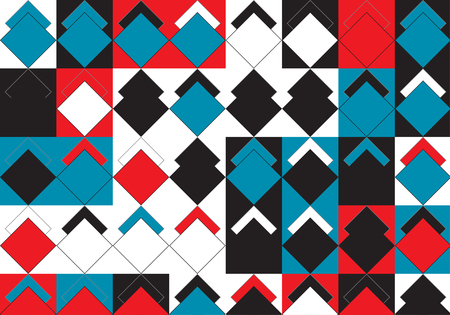 Pop Art Style Rhombus and Squares Colorful Pattern Vector Design. Abstract Geometric Background. Mondrian Style Modern Template. Polygonal Geometric Mosaic Ornament
