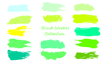 Craft label brush stroke backgrounds, paint or ink smudges vector for tags and stamps design. Painted label backgrounds patch. Color combinations catalog elements. Ink smudges, stains, green spots.