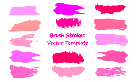 Craft label brush stroke backgrounds, paint or ink smudges vector for tags and stamps design. Painted label backgrounds patch. Color combinations catalog elements. Ink smudges, stains, pink spots.