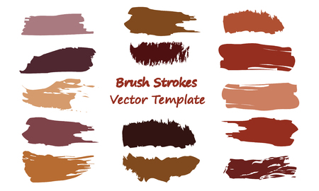 Craft label brush stroke backgrounds, paint or ink smudges vector for tags and stamps design. Painted label backgrounds patch. Color combinations catalog elements. Ink smudges, stains, brown spots.