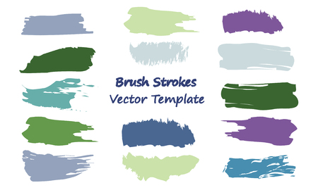 Craft label brush stroke backgrounds, paint or ink smudges vector for tags and stamps design. Painted label backgrounds patch. Color combinations catalog elements. Ink smudges, stains, colorful spots. Illustration