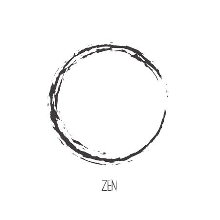 Black Brush Stroke Enso Symbol Vector Design. Painting Enso Zen Circle Brush Vector Illustration Vector Illustration