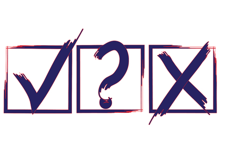 Blue question, X and tick check marks, approval signs design. Blue and red X and OK symbol icons in square check boxes. Check list marks, choice options, test, quiz or survey signs.