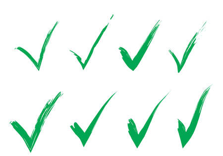 Hand Drawn Freestyle Green Ticks Vector Set. Original Check Marks Painted Collection. Vector Illustration Illustration