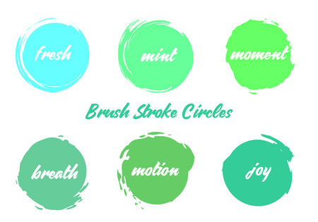 Brush Colorful Circles Vector Set. Mint Green Colors Stroke Round Elements for Winter Sale, Promotion, Titles, Prints etc. Trend Colors Grunge Stroke Circles Abstract Background
