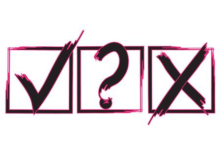 Segni di spunta di domanda, X e segno di spunta, design di segni di approvazione. Icone dei simboli X e OK nere e rosse in caselle di controllo quadrate. Segni di elenco di controllo, opzioni di scelta, segni di test, quiz o sondaggi. Vettoriali