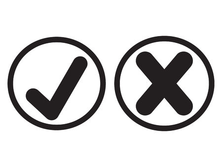 Black flat tick and cross signs. Check mark OK and X icons, isolated on white. Check marks graphic design. Symbols YES and NO button for vote, decision, web. Vector illustration Ilustração Vetorial