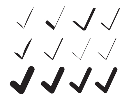 Black Check Marks Brush Painted Collection. Voting Tick Design. Stroke Ticks Set. Original Confirm Icons Background