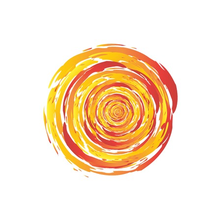 Swirl Fire Circle Abstract Vector Illustration. Grunge Brush Painted Fireball Design. Orange and Red Swirl Template. Swirling cyclone background with space for text, abstract design concept