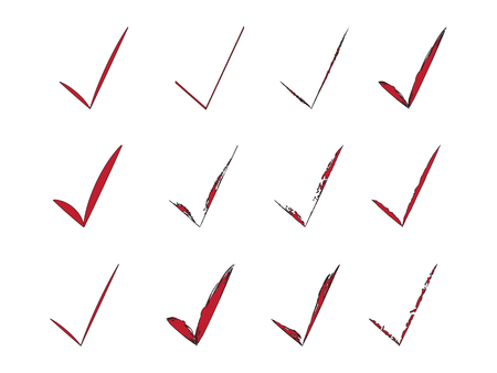 Red Check Marks Brush Painted Collection. Voting Tick Design. Stroke Ticks Set. Original Confirm Icons Background Ilustracja