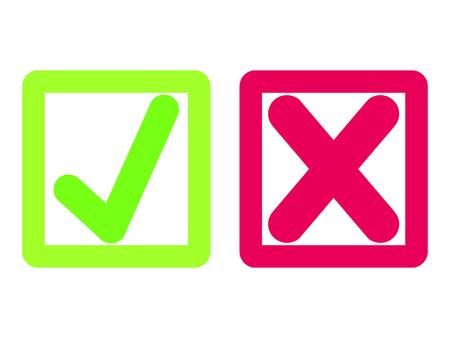 Tique à plat et signes croisés. Nouvelle coche OK et X icônes, isolés sur blanc. Conception graphique originale des marques de vote. Symboles OUI et NON pour le vote, la décision, le web. Illustration vectorielle Vecteurs