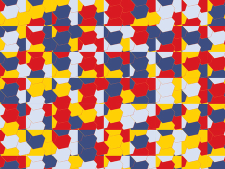 Modern Mosaic Pattern Vector Design. Octagons and Squares Pop Art Style Abstract Background in Red, Blue, Yellow, White Colors. Original Geometric Pattern