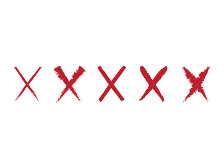 Collection of 5 red hand painted X marks. Vector illustration. Brush stroke wrong icons, x symbol icons, grunge cross sign set.