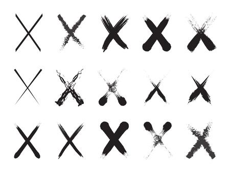 Collection de 15 marques X peintes à la main en noir. Illustration vectorielle. Icônes erronées de coup de pinceau, icônes de symbole x, ensemble de signes de croix grunge.