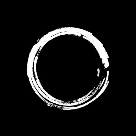 White Zen Symbol Enso Vector Illustration. Original Freestyle Hand Painted Brush Stroke Circle. Chinese Meditative Sign Enso Isolated on White. Editable Element For Your Design. Emblem, Logo Design Illustration