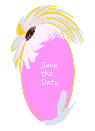 Save the Date Oval Flower Frame Original Vector Design. Cute Floral Border for Invitation, Greetings Cards in Pink, Blue, White, Yellow Colors
