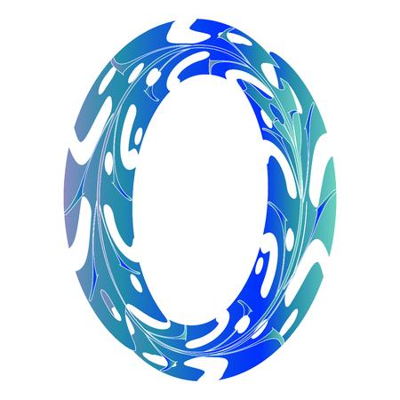 Diseño original del símbolo cero. Ilustración de vector de letra O de estilo de hoja tropical. Idea elegante para logotipo, emblema, etc. Diseño con textura de número nulo en color azul hielo. Borde ovalado original