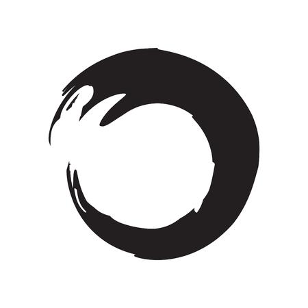 Brush Painting Enso Zen Circle Vector Illustration