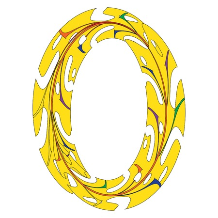 Original Zero Symbol Design. Tropical Leaf Style Letter O Vector Illustration. Stylish Idea for Logo, Emblem etc. Null Number Textured Design in Yellow. Oval Border Template