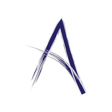 손으로 쓴 편지 A 브러쉬 벡터 디자인. 획 페인트 문자 A, 로고, 엠블럼 디자인, 지문 등의 원본 요소 벡터 (일러스트)