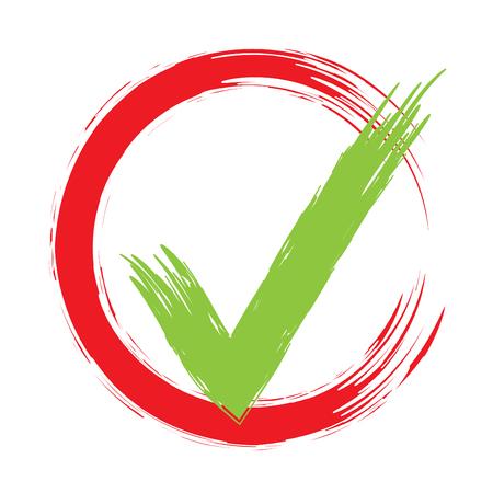 Grunge Brush Tick Original Vector Design. Approval Check Mark Sign In Round Box. Stoke Tick Vector Illustration Illustration