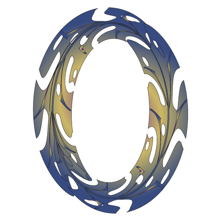Diseño original del símbolo cero. Ilustración de vector de letra O de estilo de hoja tropical. Idea elegante para logotipo, emblema, etc. Diseño con textura de número nulo. Marco ovalado original