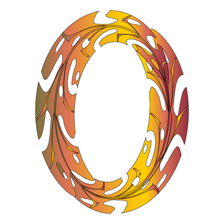 Original Zero Symbol Design. Tropical Leaf Style Letter O Vector Illustration. Stylish Idea for Logo, Emblem etc. Null Number Textured Design in Orange, Yellow, Red. Oval Frame, Border Template Çizim