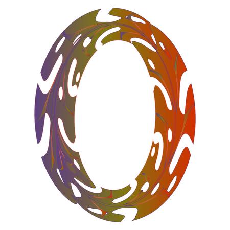 Diseño original del símbolo cero. Ilustración de vector de letra O de estilo de hoja tropical. Idea elegante para logotipo, emblema, etc. Diseño con textura de número nulo en naranja, violeta. Plantilla de borde ovalado Logos