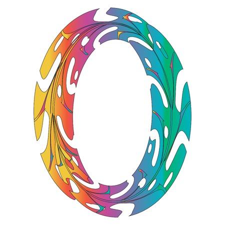 Design originale del simbolo Zero Rainbow. Illustrazione di vettore della lettera O di stile della foglia tropicale. Idea elegante per logo, emblema ecc. Design strutturato con numero nullo nei colori dell'arcobaleno. Modello bordo ovale Logo
