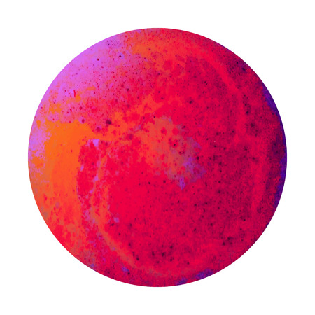 Saturated Red Planet Original 3D Illustration. Hand Paint Fantasy Mars Planet Image. Galaxy System Original Element. Circle Red Planet Isolated on White. Cosmic Background Stock Photo