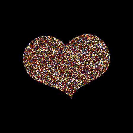 Funky Colorful Mosaic Heart Isolated on Black Original Vector Design. Dotted Colorful Heart, an Editable Element for Post Card, Wedding Card, Invitation etc.Love Symbol Shape for Valentines etc.