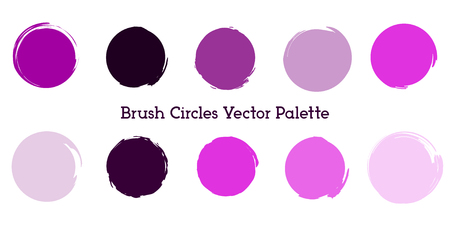 Pain Brush Circles Color Palette in Violet Shades. Stroke Round Shapes Template. Paint Circles Vector Set