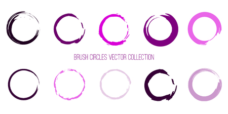 Violet and Pink Colors Paint Circles Template. Brush Round Shapes Color Palette. EPS10. Stroke Circles Collection for Your Design