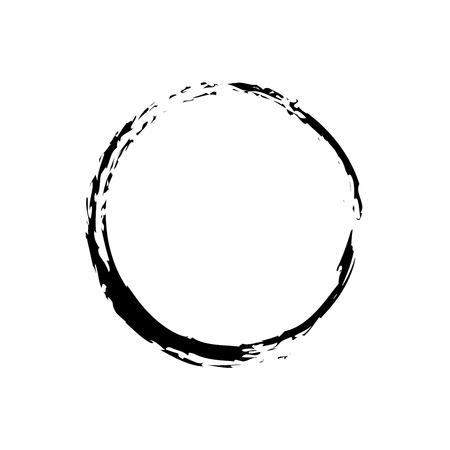Black Ink Zen Symbol. Brush Drawn Circle Vector Design. Vector Illustration
