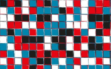 Pop art colors gingham pattern. Squares texture for textile. Original watercolor plaid geometric pattern for your design. New rhombus texture vector design in white, red, blue, black color Illusztráció