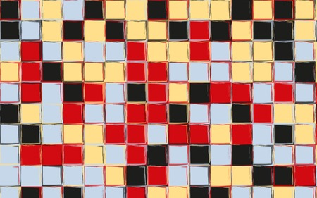 Pop art colors gingham pattern. Squares texture for textile. Original watercolor plaid geometric pattern for your design. New rhombus texture vector design in red, black, yellow, blue colors