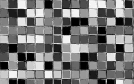 Black, gray and white color gingham pattern. Squares texture for textile. Original watercolor plaid geometric pattern for your design. New rhombus texture vector design