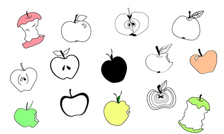 Apple icons. Doodle fruits. Apple icons set. Vector. Green, red, yellow, bitten and half of fruit with leaf. Vector. Isolated. Funky collection. Black apple emblem